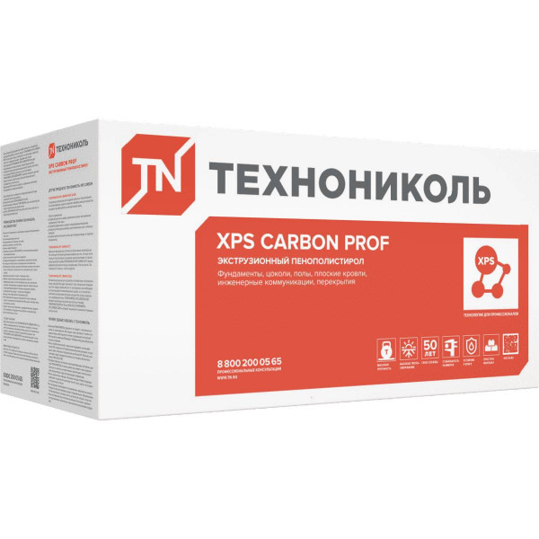 Экструдированный пенополистирол (XPS) XPS Технониколь Carbon Prof 1180x580x100 мм L-кромка