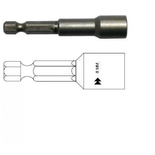 Бита шестигранная, магнитная, 8 мм